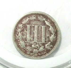 """1865 3 Cents """"Three Cent Nickel"""" United States - Old World Coin Circulated"""
