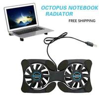 Foldable Mini Notebook Cooler Laptop USB Double Cooling Computer Stand Fan E2W2