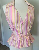 Lilly Pulitzer Size 6 Blouse Wrap Stripped Spring Summer