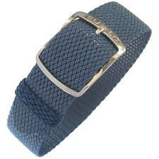 20mm EULIT Kristall Blue Tropic Woven Nylon Perlon German Made Watch Band Strap