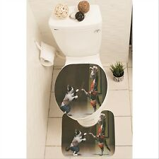 Funny Cat Kitten Set of 3 Bathroom Rug Set Mat Toilet Lid Cover y70 y0170