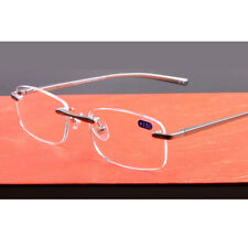 Rimless Reading Glasses +1.00 to +3.50 Aluminum Alloy Metal Frame Spectacles