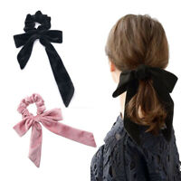 Bow Ring Fashion Velvet Girl Hair Bands Scrunchies Horsetail Tie Solid Headwear