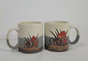 """Pair Otigari Mushroom Coffee Mugs 4"""" Tall. Burnt Orange """"Shrooms"""", Speckled."""