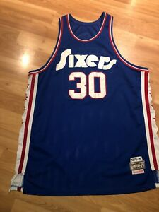 NBA PHILADELPHIA 76ERS GEORGE MCGINNIS 30 MITCHELL & NESS SEWN BASKETBALL JERSEY