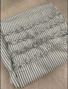 Rare! Pottery Barn ruffled dark green/ivory cream ticking striped shower curtain