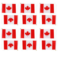 12Pcs Canada Hand Waving Flag Canadian Maple Leaf National Banner Poles 8*5""