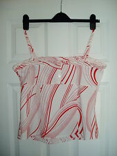 Lovely Ladies TOPSHOP Size 12 Red & White Strap Square Neck Top