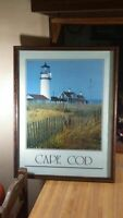 Cape Cod Framed  Picture,25x19,glass/wood,vg!