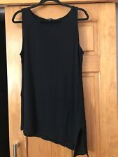 Eileen Fisher Black Sleeveless Long Top With A-Symmetrical Hem. Size XL