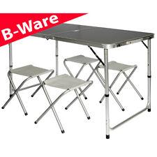 B-Ware Campingtisch 120x60cm inkl. 4 Hocker Klapptisch Koffertisch Aluminium