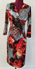 BOSTON PROPER Multicolor Animal Print Floral 3/4 Sleeve Embellished Dress S
