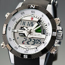 SHARK Mens LCD Digital Quartz Wrist Watch Dual Display Sport Army Black Silicone