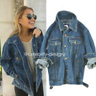 Ladies Vintage Oversized Jeans Boyfriend Denim Jacket Coat Size 8 10 12 (jk52)