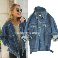Ladies Vintage Oversized Jeans Boyfriend Denim Jacket Coat Size 8 10 12 (jk52)