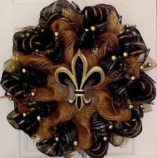 Elegant Fleur De Lis Black And Gold Mardi Gras Deco Mesh Wreath
