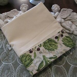 COUNTRY COTTAGE SAGE GREEN FLORAL & BLACK OLIVE ORCHARD ON CREAM PILLOWCASE