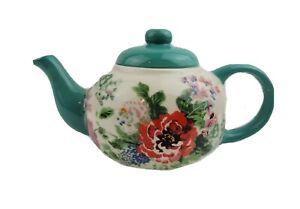 Pioneer Woman Country Garden Teapot FLEA MARKET Glossy Ceramic Kitchen Decor