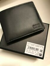 New Hugo Boss ASOLO MENS Blind fold  BLACK LEATHER WALLET WITH COIN POCKET