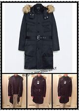 Retail $299 NWT ZARA MEN's BLACK LONG HOODED PARKA WITH BELT Size M XL