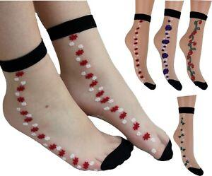 5 Pairs Ladies/Women Cool Summer Silk Short Thin Transparent Flower Socks Ladies