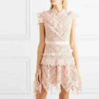 Pink Portrait Lace Ruffle Irregular Cutout Party Dress Free Self Delivery