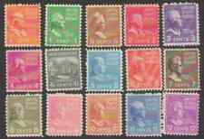 US. 803-817. Presidential Issue. Lot of 15. Not Complete Set. MNH. 1938