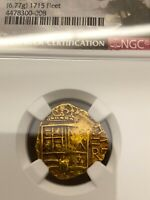 """COLOMBIA """"DATED 1660"""" 2 ESCUDOS """"1715 FLEET"""" TREASURE NGC55 PIRATE GOLD COINS"""
