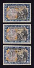 F.C. TRIO CORRELATIVO 1 PESETA JUNIO 1940 , SERIE A , S/C- , MARGENES SUCIOS .