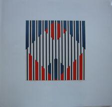 Gitterung Geometrische Komposition Orig Serigrafie unleserl signiert 1974 Op-Art