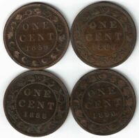 4 X CANADA LARGE CENTS ONE CENT QUEEN VICTORIA COINS 1859 1884 1888 1890H