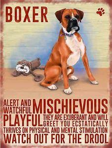 Boxer Hund Großes Schild aus Stahl 400mm x 300mm (Og)