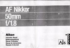 Genuino Original Nikon AF Nikkor Manual De Lente De Cámara 50 mm F/1.8