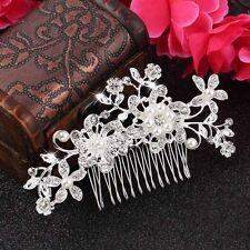 Bridal Hair Comb Wedding Flower Crystal Rhinestones Pearls Silver Clip Diamante