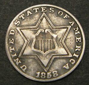 USA 3 Cents 1858 - Silver - F/VF - 624