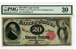 1880 Fr.143R $20 Red Seal Legal Tender PMG VF30 RARE PRE STAR REPLACEMENT 3009