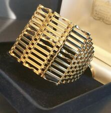 VINTAGE Art-Deco stile oro 18ct su 925 SterlingSilver 12 BAR Bracciale GATE 7 in