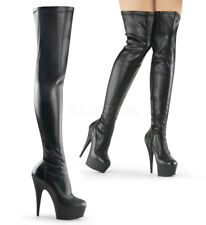 Pleaser DELIGHT-3000 Women's Black Faux Leather Matte Heels Platform Thigh Boots