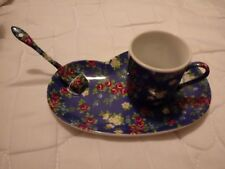 One person Espresso set, comprising biscuit saucer, espresso cup and sugar spoon