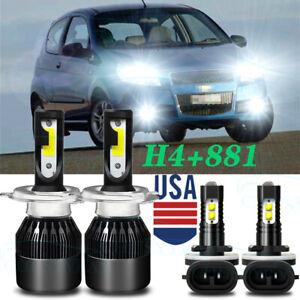 For Chevrolet Aveo 2004 2005 2006 2007 2008 LED Headlight Hi /Lo+Fog Light Bulbs