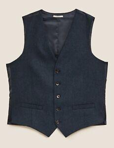 M & S Italian Luxury Indigo Navy Wool Blend Waistcoat Size L. Reg NWT RRP £45