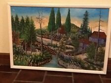 Large Haitian Oil Painting Of Houses Landscape And People  Stream Flowers By Isa