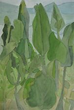 """PEGGY PERRINS-SHAW AUSTRALIAN WC """"LEAVES IN THE GARDEN"""" 1981"""