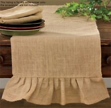 Primitive Country Tan Jute Burlap Table Runner 14x42 Farmhouse Tabletop