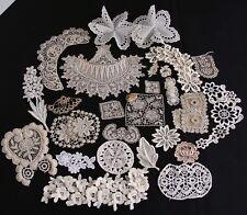 Antique Vtg Lot Lace Applique Trims Motifs Irish Crochet Schiffli Doll Craft