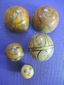 Vtg Unique Handmade Painted Decorated Wooden Nested Balls Ornaments Folk Art