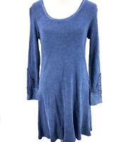 Able USA Medium Henley Thermal Dress Blue Crochet Sleeves Boho Hippie