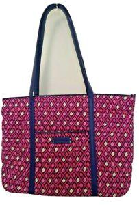 Vera Bradley LARGE Trimmed Vera Tote Bag In Katalina Pink Diamonds NEW