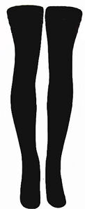 Solid Black Thigh High Black Tube Socks Sexy 35-20