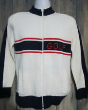 Quantum Sportswear Vintage 70s-80s Red White Blue Zip Up Golf Sweater Mens M